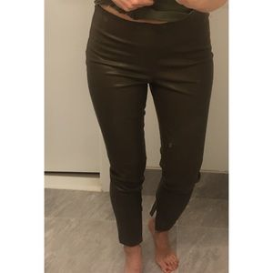Zara Olive Green Pleather Pants with Ankle Zips